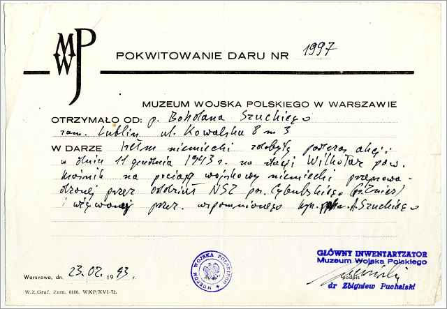 Receipt of Gift - Polish Army Museum In Warsaw Receipt of Gift from Bohdan Szucki