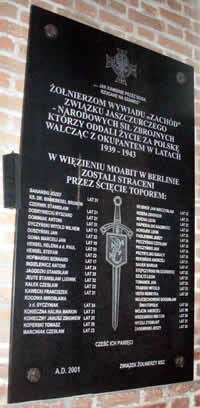 Memorial Plaque dedicated to the executed by decapitation by the Nazis Soldiers of the ZJ-NSZ.